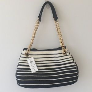 Nwt Black And White Summer Straw Shoulder Bag